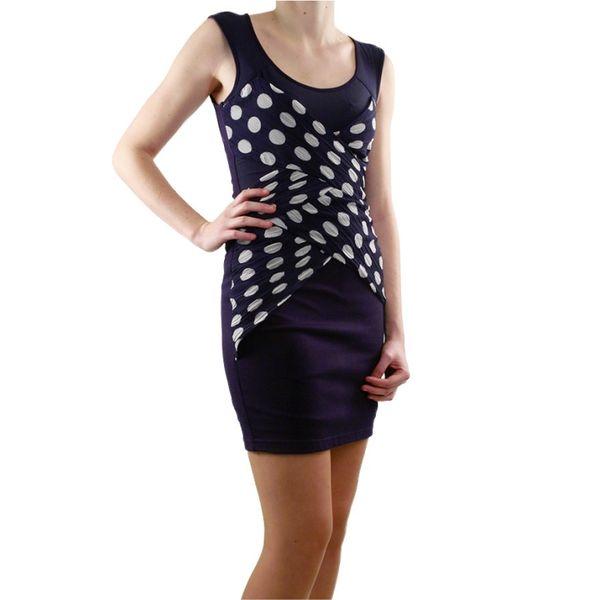 Dámské šaty Lucy Paris tmavě modré bílý puntík