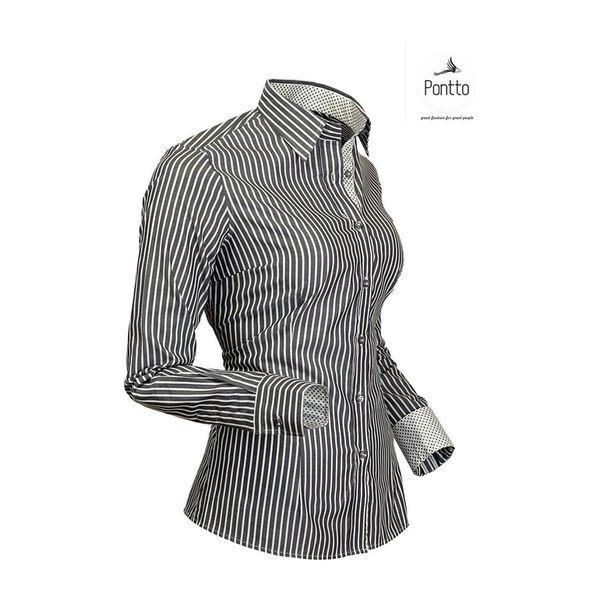 Dámská košile Pontto bílo-černý proužek