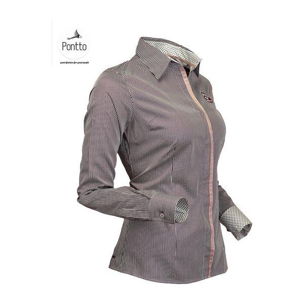 Dámská košile Pontto růžovo-černá proužkovaná