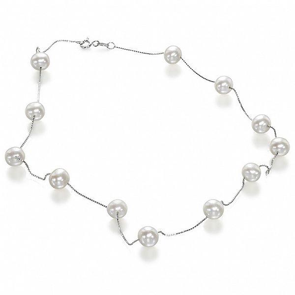 Dámský stříbrný náhredelník Orchira s bílými perlami