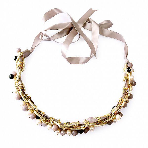 Zlatý náhrdelník Orchira s perlami a drahokamy