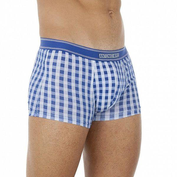 Pánské modro-bílé kostkované boxerky Antonio Miro