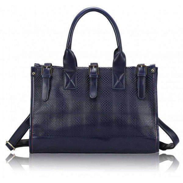 Módní kabelka Buckel 0275 - modrá z umělé kůže.