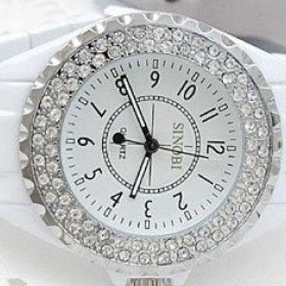 Štýlové a zároveň luxusné hodinky SINOBI s krištáľmi okolo ciferníka a bielym kovovým remienkom za 14,40 € vrátane poštovného!