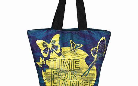 Letná dámska tmavo modrá taška Smash so žltou potlačou