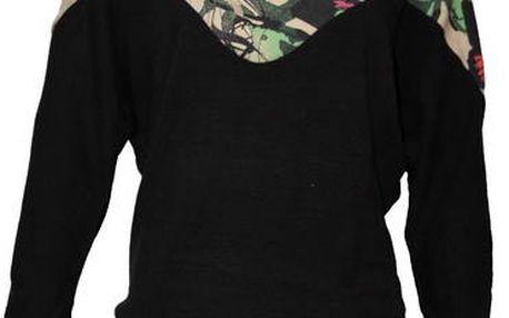 Dámsky čierny sveter Smash s farebným sedlom
