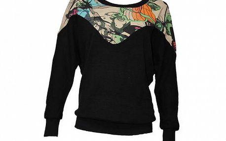Dámský černý svetr Smash s barevným sedlem