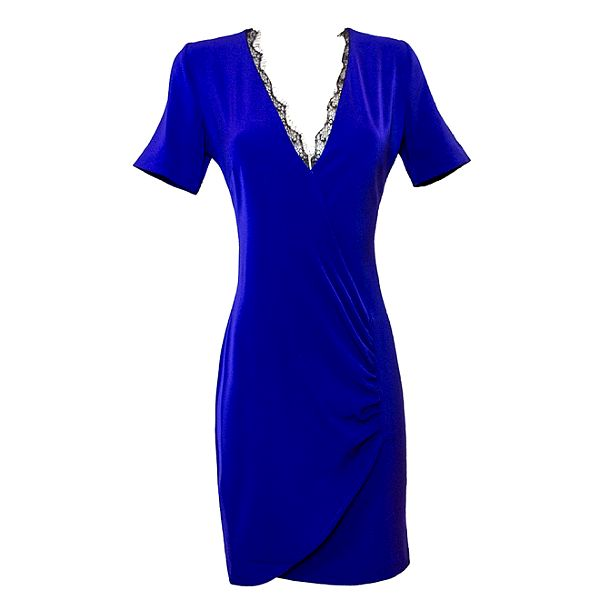 Dámske modré šaty s čipkovaným výstrihom Virginia Hill