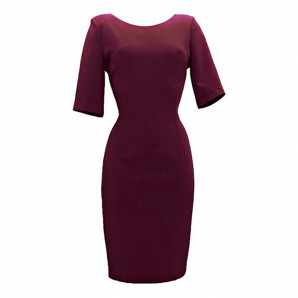 Dámske vínové púzdrové šaty s dlhším rukávom Virginia Hill