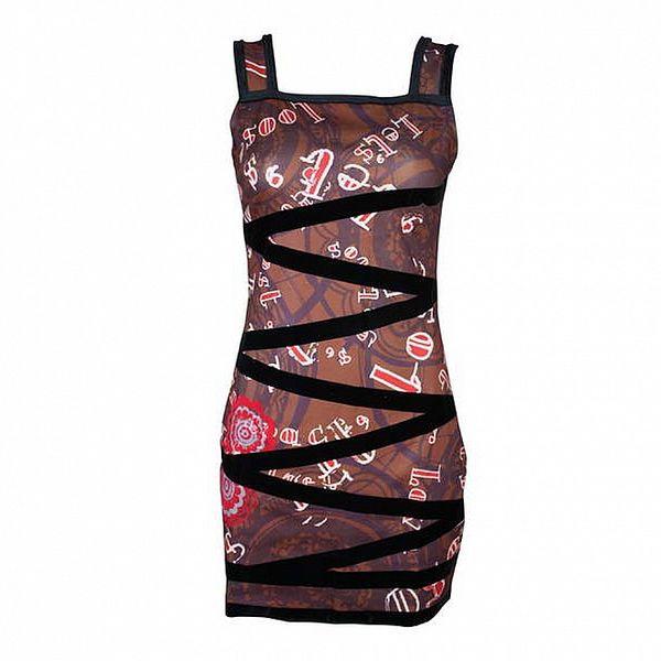 Dámské hnědé šaty Smash s černým cik cak lemem