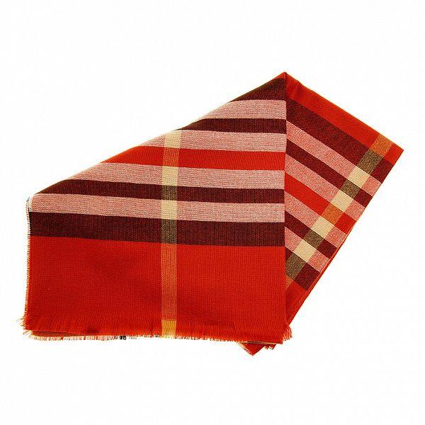 Dámská cihlově červená pašmína s kostkou Fraas