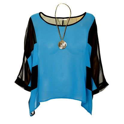Dámský černo-modrý top Skulls s náhrdelníkem