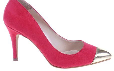 Dámske červené lodičky so striebornou kontrastnou špičkou Eva Lopez