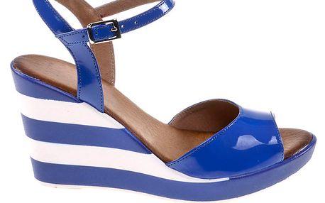 Dámské modro-bíle pruhované sandálky na klínku Eva Lopez