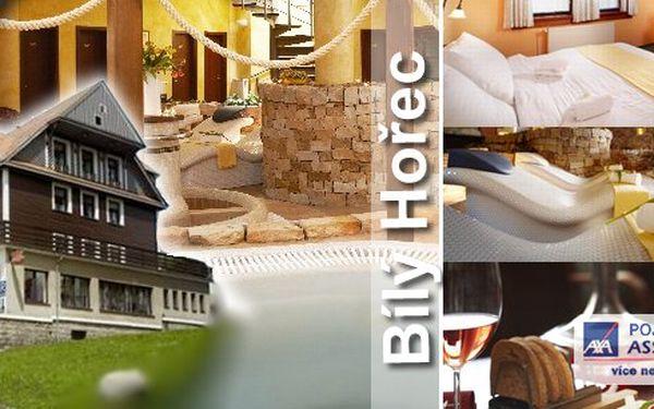 Luxusní wellness pobyt v centru Harrachova na 3 dny pro 1 osobu s plnou penzí ve SPA hotelu Bílý Hořec. Při zakoupení dvou balíčků pro 1 osobu, pátá noc zdarma včetně stravy a další návštěvy římských lázní.