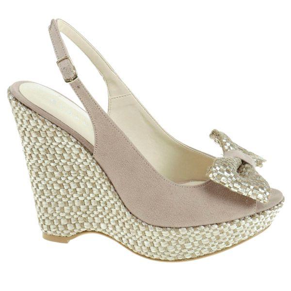 Dámske béžovo-krémové sandálky s mašľou Eva Lopez