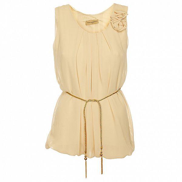 Dámská svetlo béžová tunika Comptoir des Parisiennes so zlatým opaskom