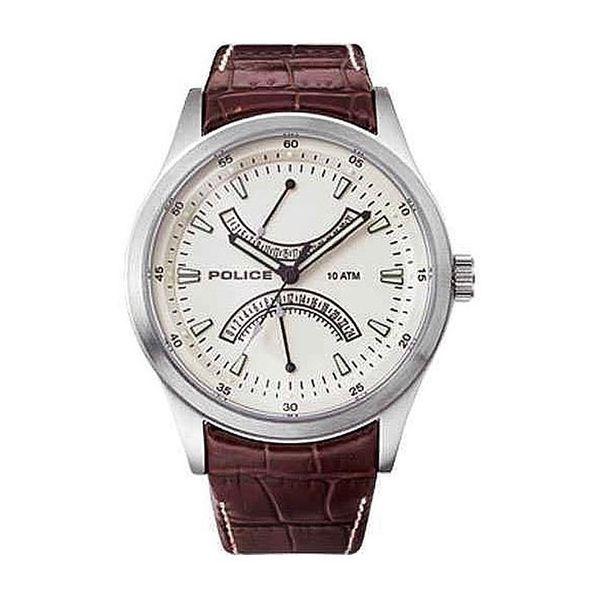 Pánské hodinky Police krémově-stříbrné hnědý pásek