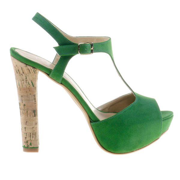 Dámske smaragdovo zelené sandálky Eva Lopez