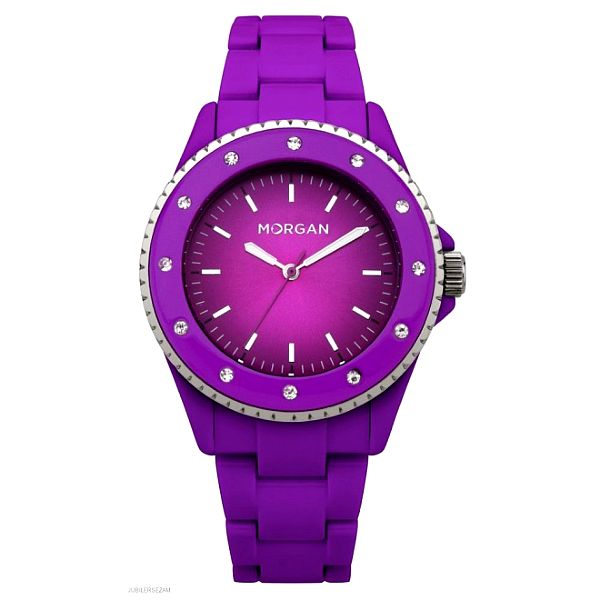 Dámske neonove fialové hodinky s kryštálmi Morgan de Toi