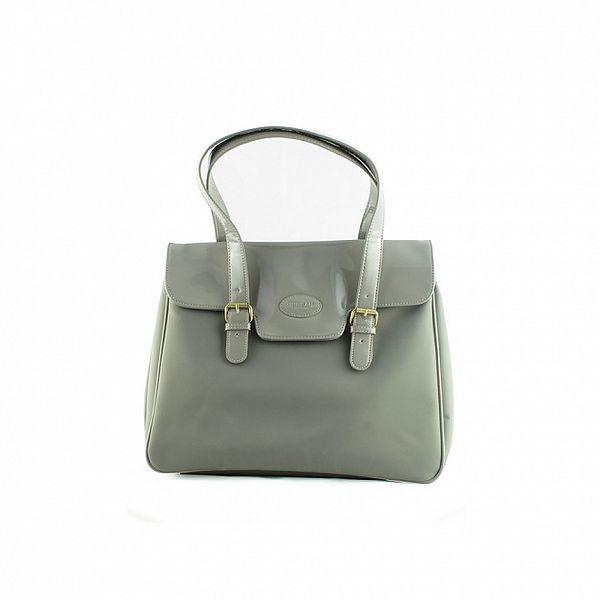 Dámská světle šedá nylonová kabelka Morgan de Toi s lakovanou klopou