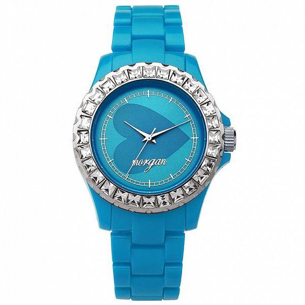 Dámské tyrkysové analogové hodinky s českými krystaly Morgan De Toi