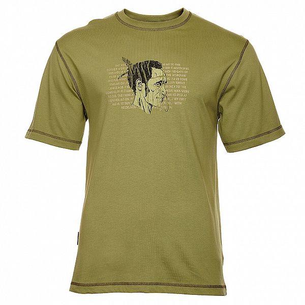 Pánské olivově zelené tričko Bushman s indiánem