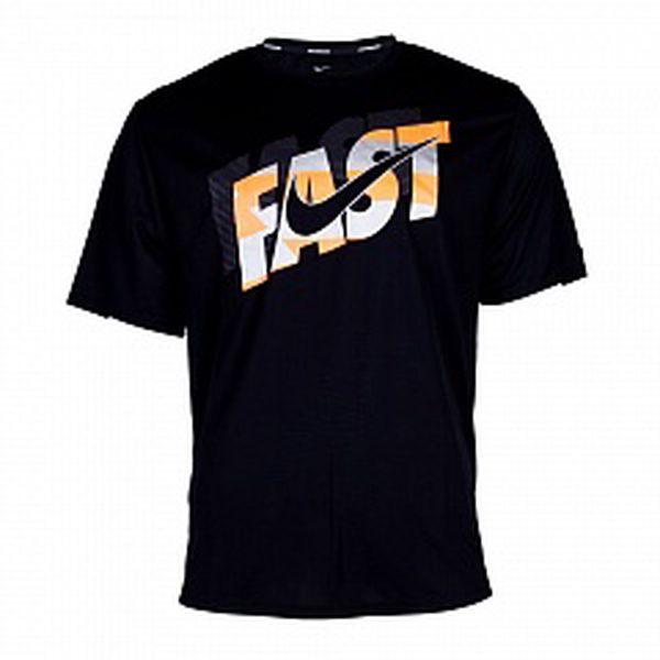 Pánske čierne bežecké tričko Nike s potlačou