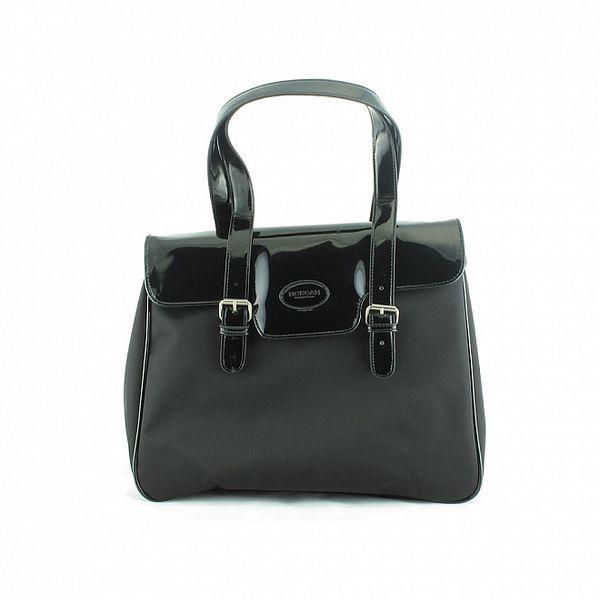 Dámska čierna nylonová kabelka Morgan de Toi s lakovanou klopou