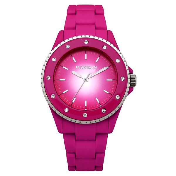Dámské růžové hodinky s krystaly Morgan de Toi