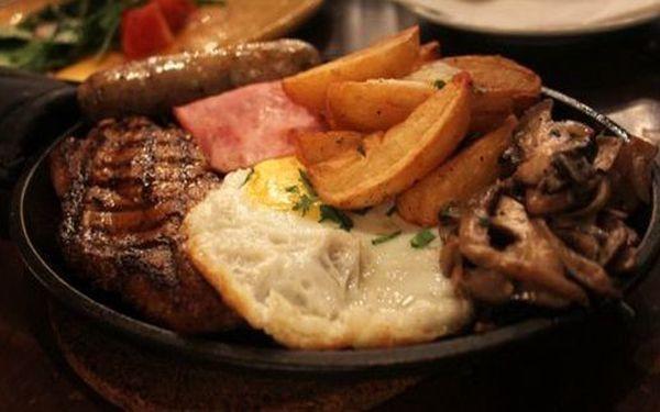 2x steak z kotlety se šunkou,vejcem+příloha+omáčka