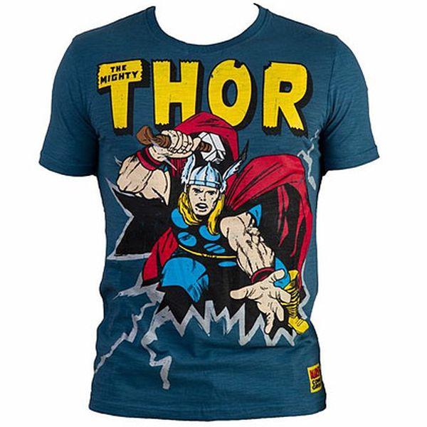 Bavlněné pánské modré tričko Thor Marvel Comics
