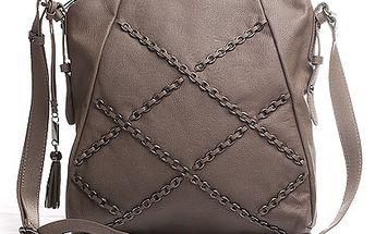 Řetízková Sisley kabelka šedo-béžová přes tělo