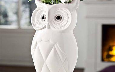 """Dekorativní váza """"Sova"""" z bílé glazované keramiky"""