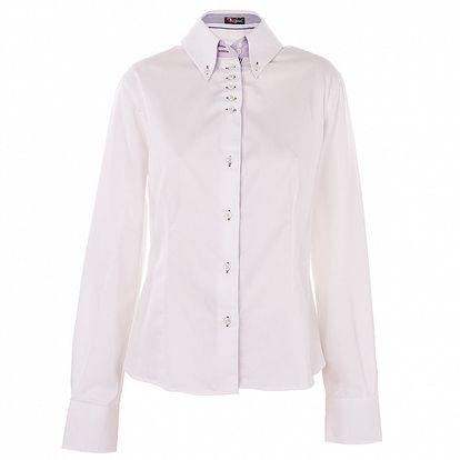 Dámska biela košeľa 7camicie s modrou prúžkovanou légou