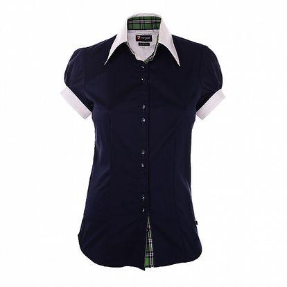 Dámska tmavo modrá košeľa 7camicie s bielym golierikom a zelenými detailmi