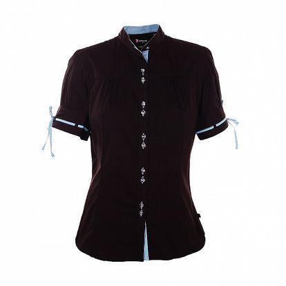 Dámska čierna košeľa 7camicie s modrou kockovanou légou