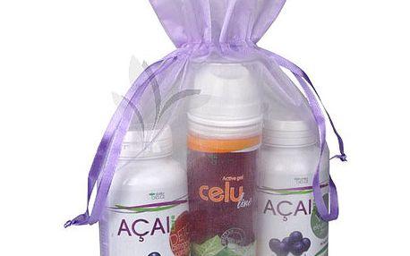 Balíček na detoxikaci Acai Detox - Acai Detox 90 kapslí, Acai Vital 90 kapslí, CELUline 150 ml