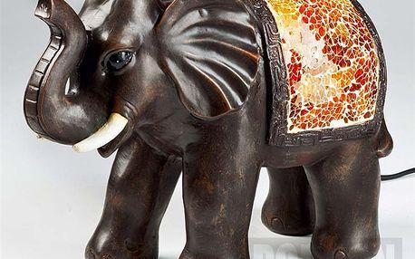 Dekorační lampa v podobě slona z tmavě hnědého umělého kamene