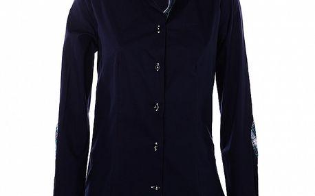Dámska tmavo modrá košeľa 7camicie s bielym golierikom a kockovanými detailmi