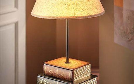 """Stolní lampa """"Lexika"""" v nostalgickém vzhledu s podstavcem v designu starožitných knih"""