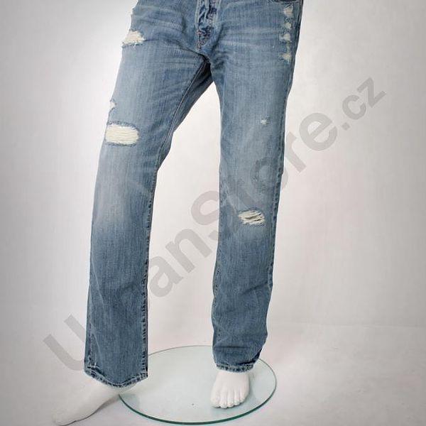 Džíny A&F, potrhaný design, na knoflíky, 100% bavlna.
