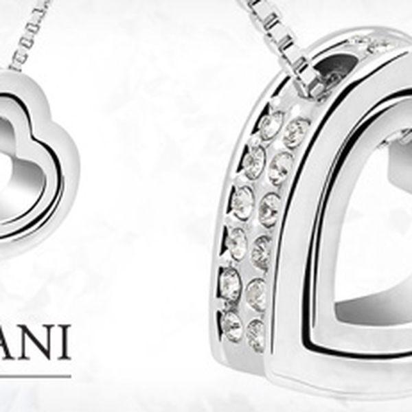 """Něžný náhrdelník """"Dvojité srdce"""" se třpytivými krystaly Swarovski Elements"""