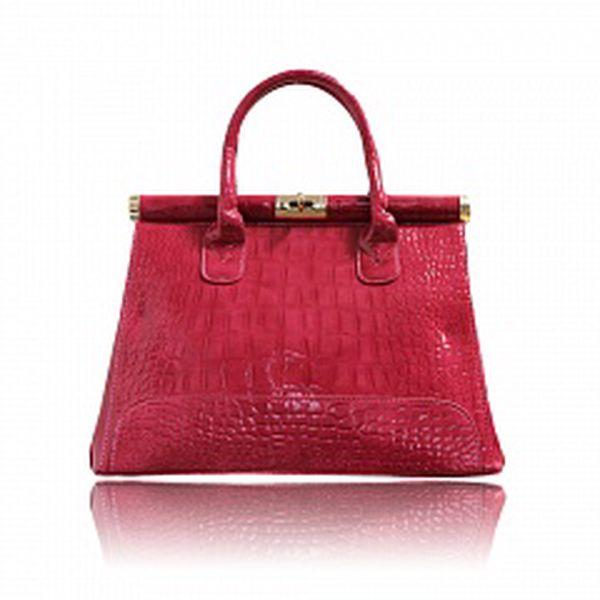 Dámska ružová lakovaná kabelka London Fashion s krokodílím vzorom