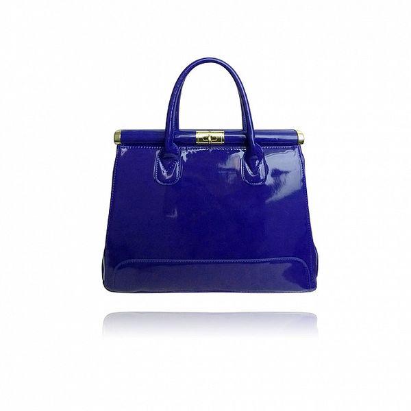 Dámská sytě modrá lakovaná kabelka London Fashion