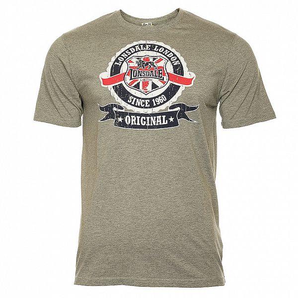 Pánské šedé tričko s potiskem Lonsdale
