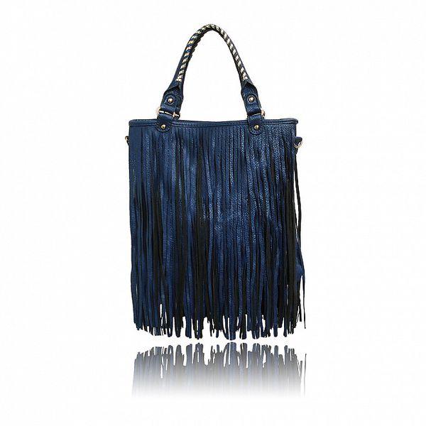 Dámská modrá kabelka London Fashion s třásněmi