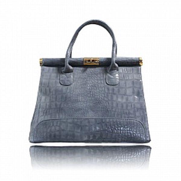 Dámska šedá lakovaná kabelka London Fashion s krokodílím vzorom