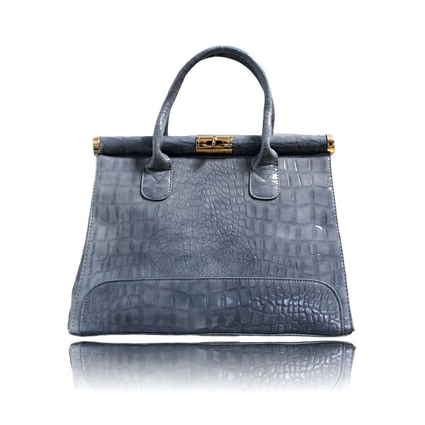 Dámská šedá lakovaná kabelka London Fashion s krokodýlím vzorem