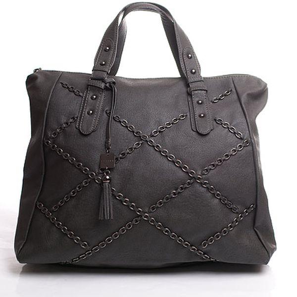 Řetízková Sisley kabelka šedá prostorná do ruky